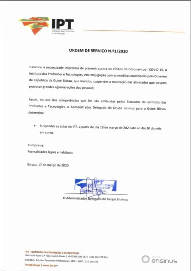 COMUNICADO IPT – GRUPO ENSINUS – 18.03.2020